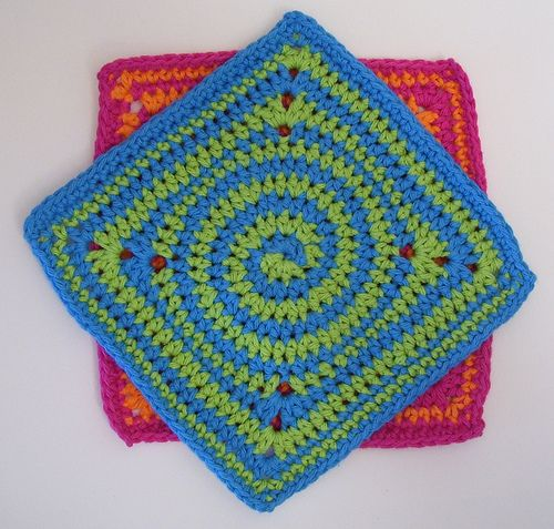 Free Crochet Pattern Spiral Granny Square : Ravelry: Squaring the Spiral Dishcloth pattern by Deborah ...