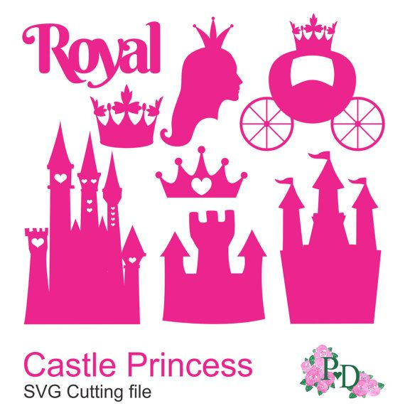 Royal DXF SVG PNG Castle Princess Cinderella Cutting files for Silhouette Cameo portrait Cricut cutter, Die Cut scrapbooking EasyCutPrintPD