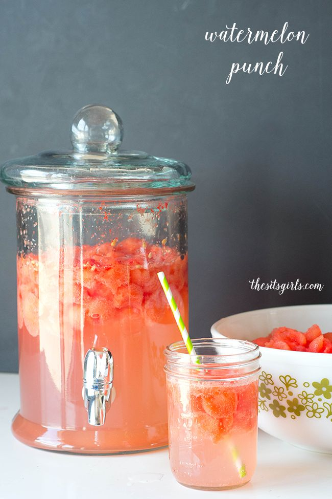 Easy summer drink recipe   Watermelon Punch   This is a great drink to make with the kids this summer. Virgin drink recipe, but you could add champagne if you wanted to make an alcohol version.