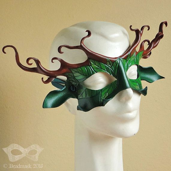 Favorite mask site.....Stag Lord Leather Mask In Green And Brown  Cernunnos by beadmask