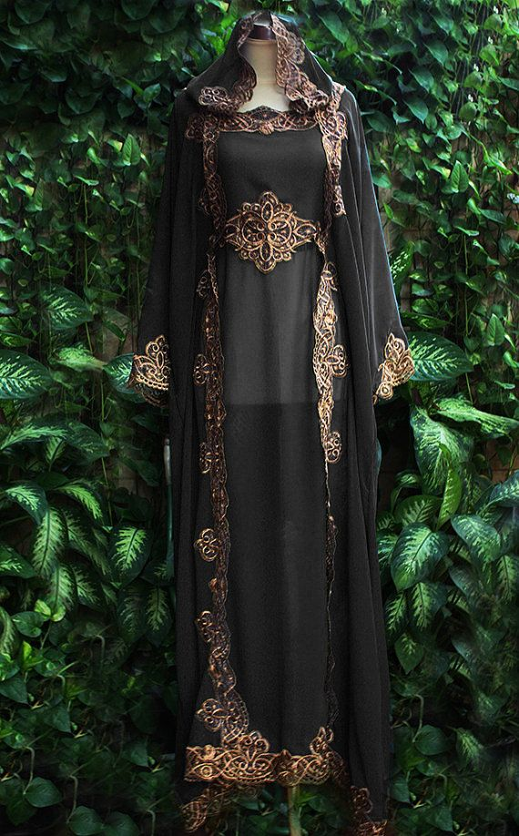 Last 2  Moroccan Black Chiffon Hoodie Caftan Fancy by aboyshop, $77.00. This is a very pretty outfit and for the price one in a million.