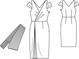 Sukienka z głębokim dekoltem w kształcie litery V - numer wzorca 108 Magazyn 6/2014 Burda - wzory na sukienki Burdastyle.ru