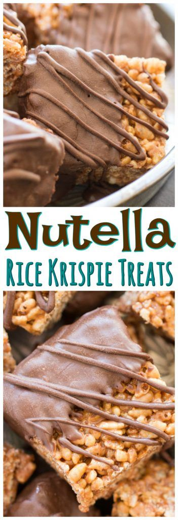 Nutella Rice Krispie Treats with a chocolate bath and a chocolate drizzle! These are so rich and gooey with extra marshmallows and LOADS of Nutella!