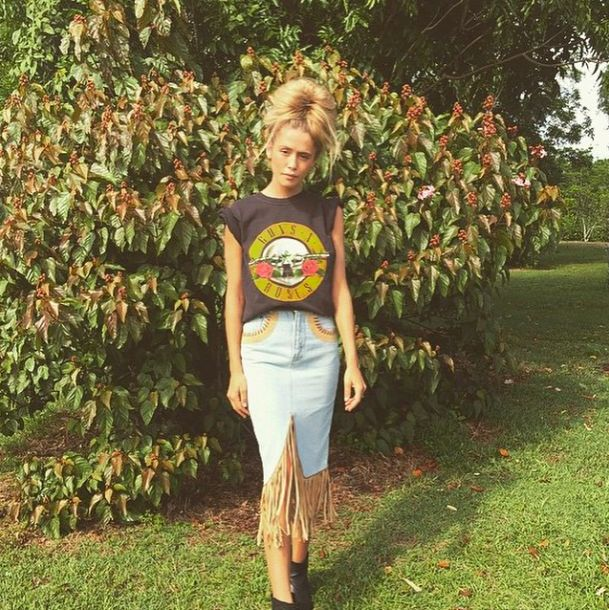 Ruby Tuesday Matthews in a Vtg Guns and Roses Tee and our Vintage Lolita Skirt. www,brahminyexchange.com