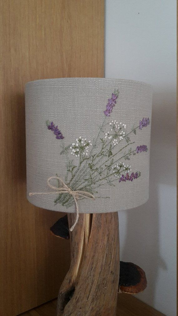 Hand Embroidered Lavender Meadow Table Lampshade Diy Embroidery Patterns Handmade Lampshades Painting Lamp Shades