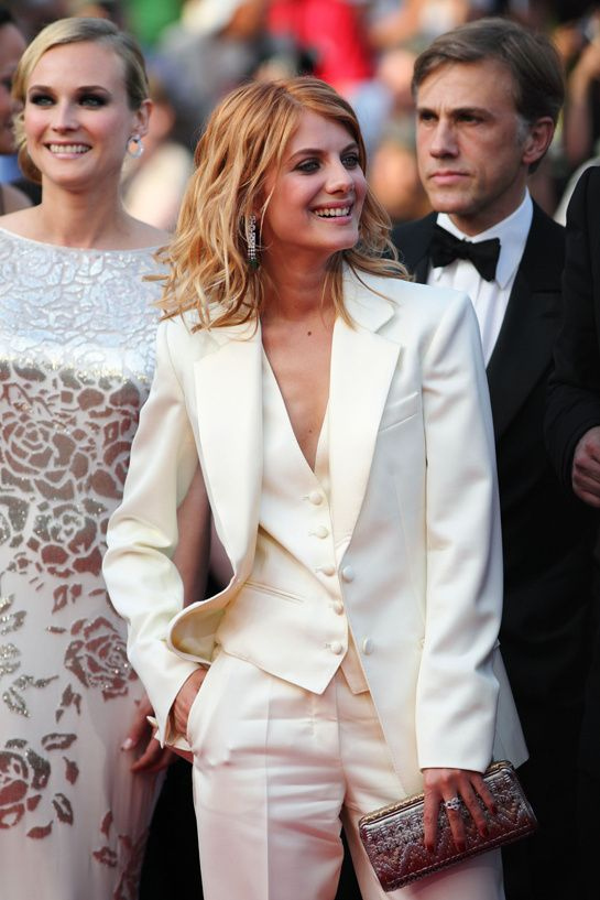 Women in tuxedos, like Mélanie Laurent in Yves Saint Laurent is so chic!  Tom Ford made one for each of the models from his debut namesake womenswear collection as a gift