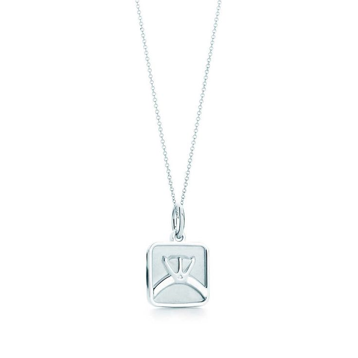 Square ring tag charm in sterling silver on a chain. | Tiffany & Co.