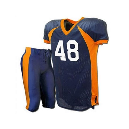 American Football Uniform SKU: SSW-12701 All colors are available American Football Uniform can be customized by team, club, or personal name and number.Your company Neck label with company name and logo can also be done M/O 100% polyester fabric,