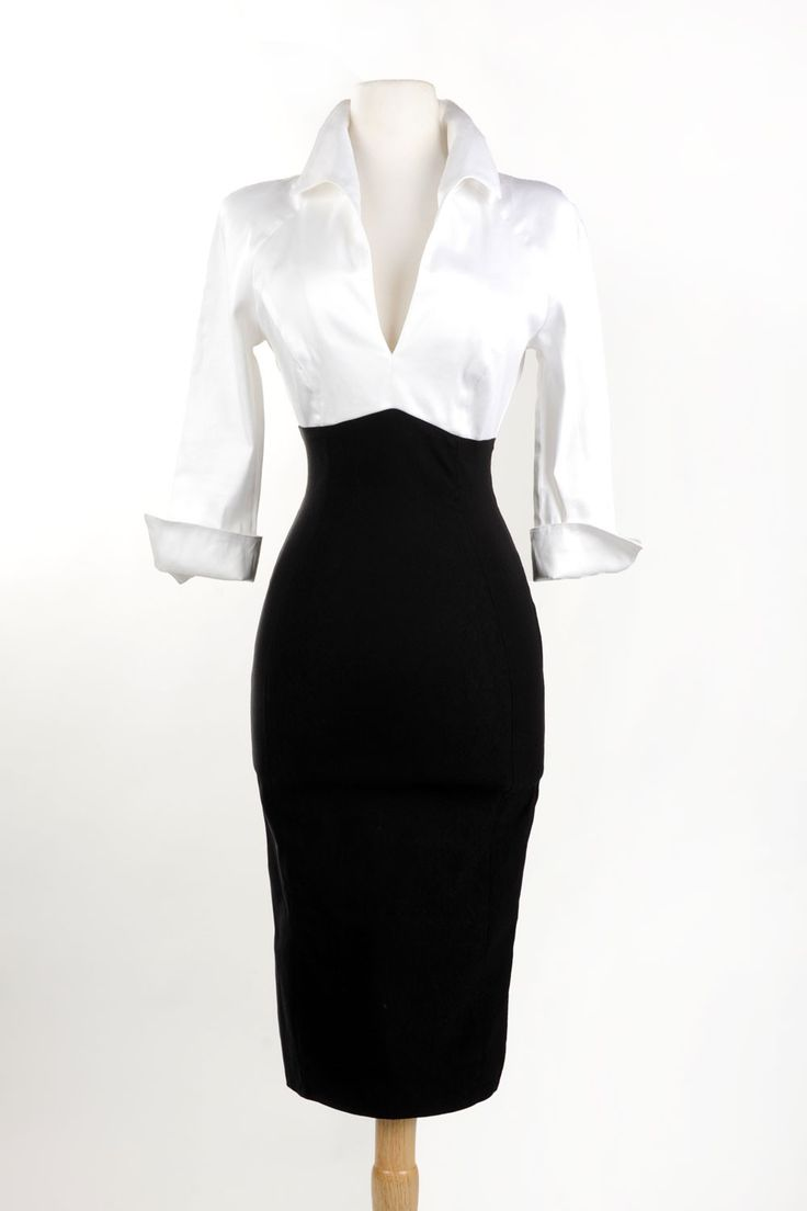 Plus size sexy v-neck wiggle dress in white and black | Pinup Girl Clothing