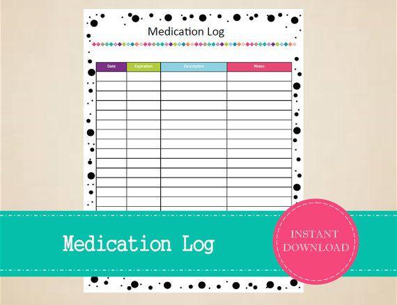 printable pet medication log