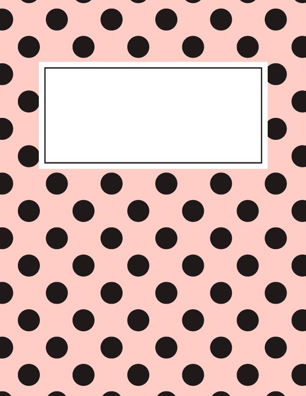 Free printable pink and black polka dot binder cover template. Download the cover in JPG or PDF format at http://bindercovers.net/download/pink-and-black-polka-dot-binder-cover/