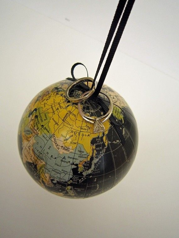 'Most Clever' vote for today. A mini globe repurposed as the ring bearer's 'pillow' for a wedding.