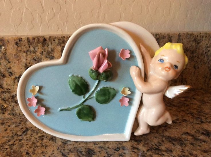 Vintage Valentine planter Japan double heart cupid cherub rose angel pink blue