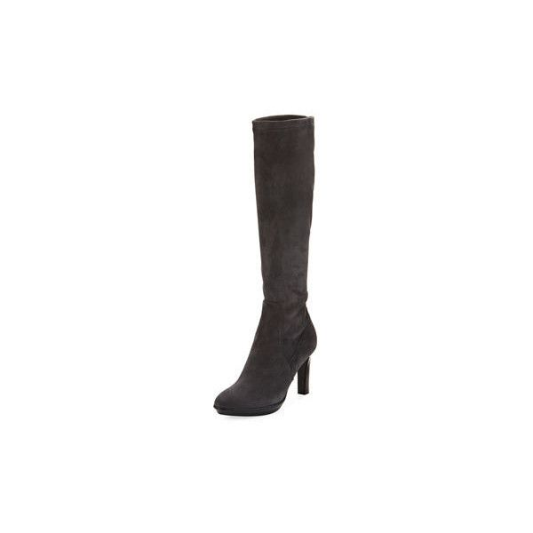 Aquatalia Rumbah Weatherproof Suede Knee Boot (605 AUD) ❤ liked on Polyvore featuring shoes, boots, grey, knee high platform boots, grey suede boots, grey suede knee high boots, gray suede knee high boots and stretch boots