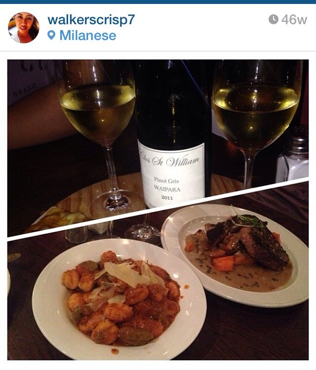 Italian food: gnocchi with baby spinach, costata with roast potatoes and seasonal vegetables, Clos St William Pinot Gris