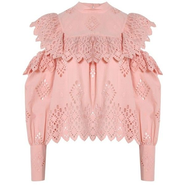Sea NY Open Shoulder Ruffle Blouse (£295) ❤ liked on Polyvore featuring tops, blouses, cold shoulder blouse, cotton blouse, eyelet blouse, pink blouse and layered tops