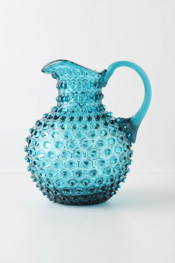 Turquoise Bubble Glass Pitcher