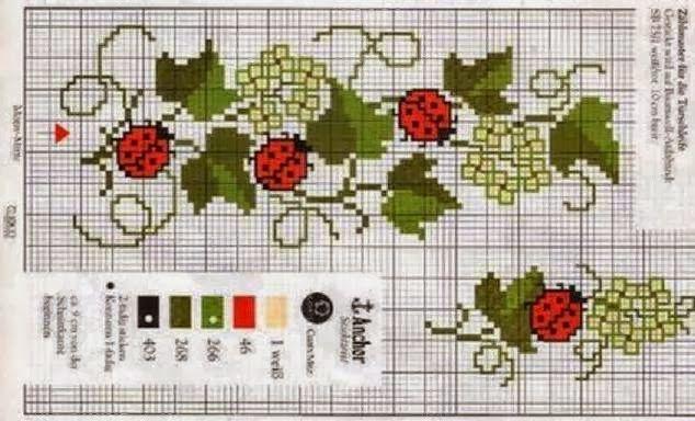 20 σχέδια με πασχαλίτσες για κέντημα σταυροβελονιά / Mονογράμματα με πασχαλίτσες   20 ladybug cross stitch patterns /   L adybug cross s...