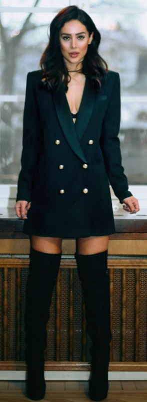 Sharareh Sophia Hosseini + all out military + striking blazer dress + thigh high boots + alternative style!  Dress: Balmain x H&M, Boots: Janni Delér