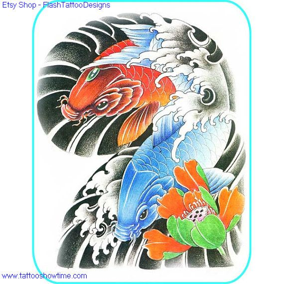Koi & Flower Tattoo Design 28 for you on Etsy. Top quality high resolution color design, with tattoo stencil outline. Instant download only $1.95. Get the body art you deserve. Many other designs.