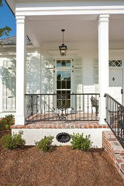 Charming Brick Porch Floor With Wood Columns/New Orleans Charm With A Private  Courtyard Traditional Porch