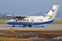 Silver Air Let L-410UVP-E Turbolet E7-WDT aircraft, parked at Italy Bergamo-Orio al Serio ''Il Caravagio'' International Airport. 10/03/2013.