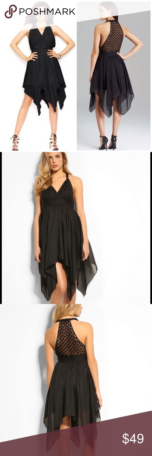 "🆕 Guess Twisted Tank Dress Crafted with a sweetheart neckline, an open embroidered racerback and a sharkbite hemline, wear this flowy dress with strappy heels and an updo for a romantic finish.  Sweetheart neckline  Sleeveless  Twisted tank straps  Sharkbite hemline  Open embroidered racerback  Zip and button side closure  Pleated belt at waist  Empire silhouette  Skirt lined  Cotton/silk. Hand wash.  Underarm across 14"". Length 31-42"".  Brand new with tag. Retail price $108.  Smoke free…"