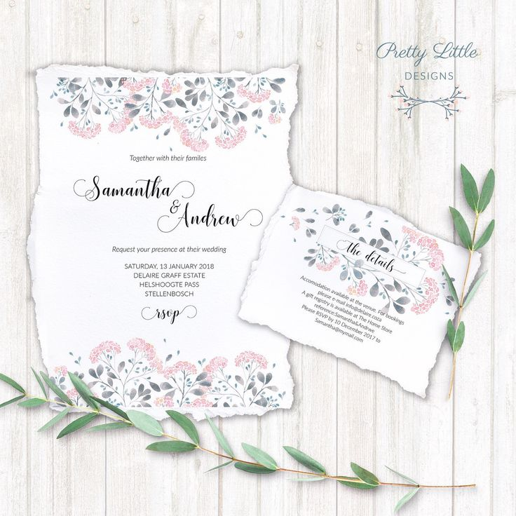 Wedding Stationery - Our delicate watercolor blossom design on textured paper with torn edges. Love it!