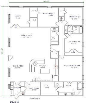 barndominium price 5 bedroom 3 bathroom 50x60