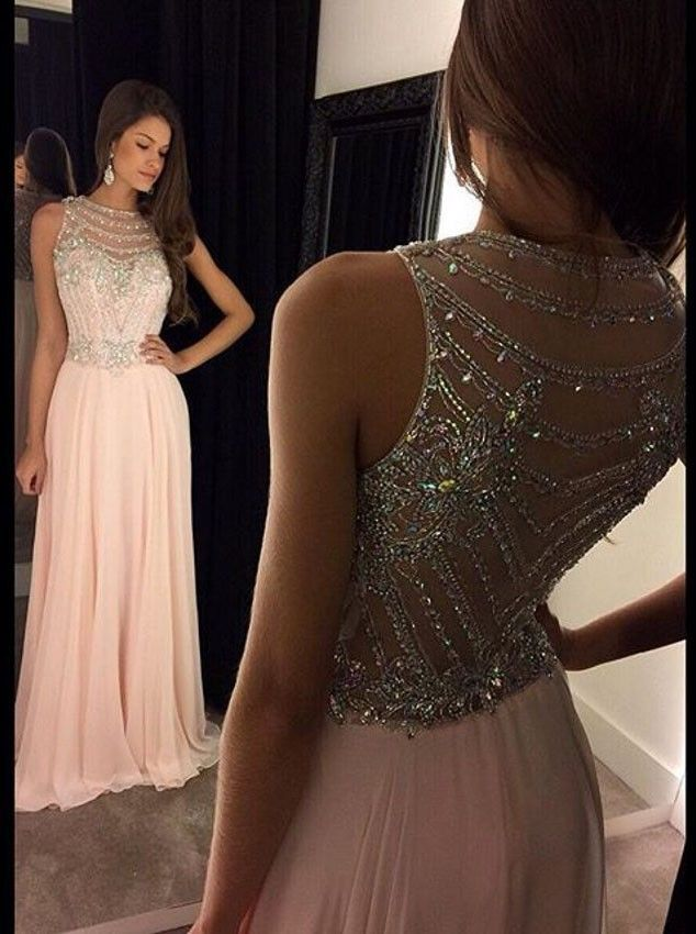 Elegant A-Line Long Chiffon Scoop Pink Prom/Evening Dress with Beading