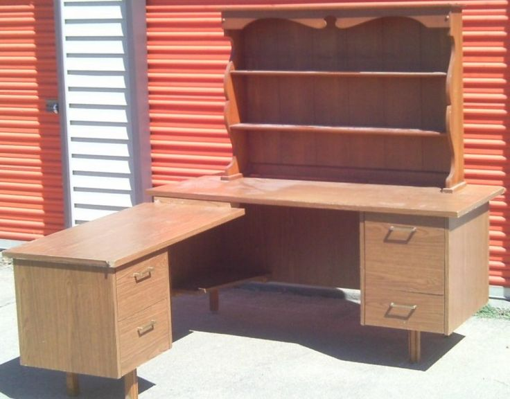 awesome old style varnished wooden corner desk equipped with book shelves cabinet as well as modern