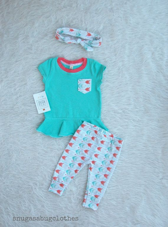 Summer Peplum Outfit with Arrow Leggings Baby by SnugAsaBugClothes