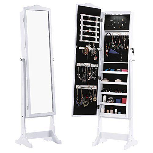 Songmics Portagioie Armadio Organizzatore Bianco per Gioielli con Specchio con Luce a LED da Appendere a Porta Parete JBC28W