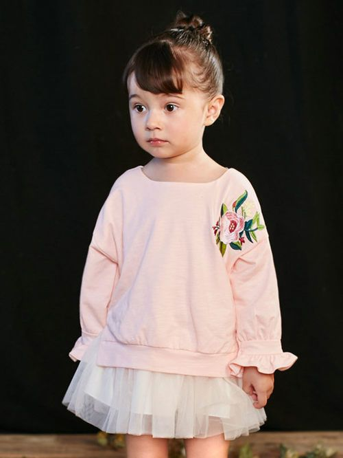 Baby girl pink cotton tops with long sleeves & voile mini dress. This set  only