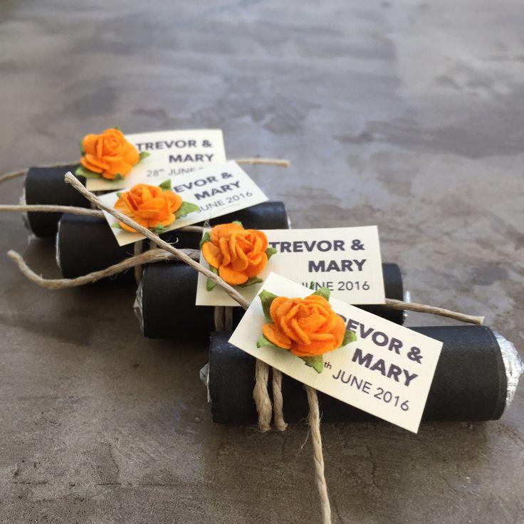 Mint Wedding Favors Set Of 24 Rolls Rustic Burnt Orange