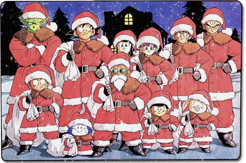 Merry Christmas!! With Goku, Krillin, Puar, Tien Shinhan, Kid Gohan, Chi-Chi, Piccolo, Yamcha, Bulma, Oolong and Master Roshi.