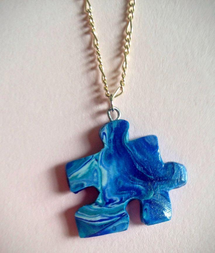 Blue puzzle piece pendant necklace. Autism awareness jewelry. Light it up blue #autism #autismawareness #jewelry  https://www.etsy.com/listing/455289338/autism-awareness-puzzle-piece-puzzle