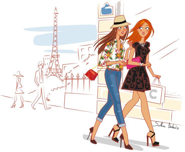 2 femmes dans les rues de Paris fin septembre.