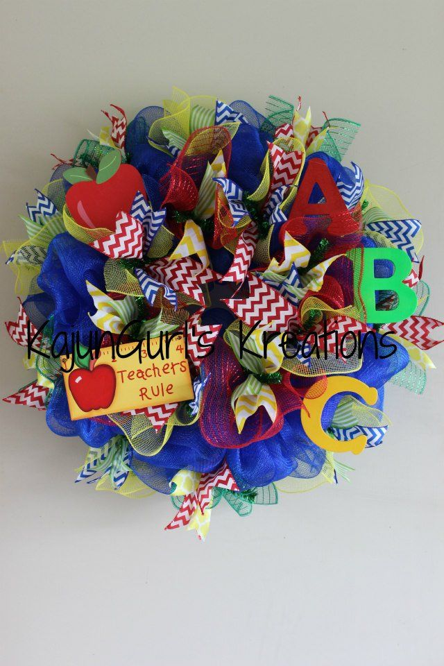 Bright primary color Back to School Wreath by Kajungurl's Kreations