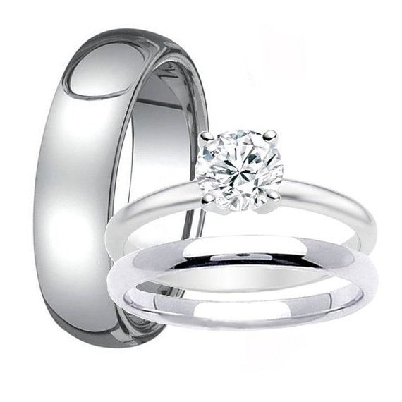 New Mens TUNGSTEN Band for Him u Womens Solitaire Stainless Steel Engagement Ring with Matching Wedding Band His and Hers Wedding Rings Set