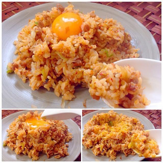 昨夜トマト食べた娘が口がちょっとしみると言ったのでビタミンB2たっぷり炒飯 良いお天気気持ちいいなぁ〜 - 66件のもぐもぐ - Pork&natto kimchi fried rice豚肉キムチ納豆チャーハン by honeybunnyb