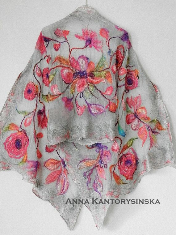 READY TO SHIP. nuno felted silk scarf shawl wrap SPRING ROSES, handmade art to wear, silk wool scarf, nuno felt, eco fashion by Kantorysinska  Perfect fashion accessory gift for an outfit and occasion.  Nuno felted silk scarf SPRING ROSES, in cheerful colors spring garden, well suited for your summer dresses. Pleasant to the touch. Gently wraps itself around your shoulders. It is made of very thin chiffon and high quality Australian Merino wool, decorated with shiny, silk yarn.  L 206 cm x W…
