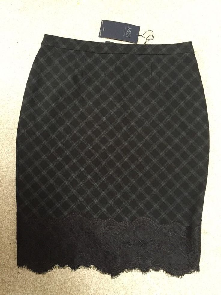M&S Collection Lace Hem Pencil SKIRT Lined UK14 BNWT RRP£35 Machine Washable | eBay
