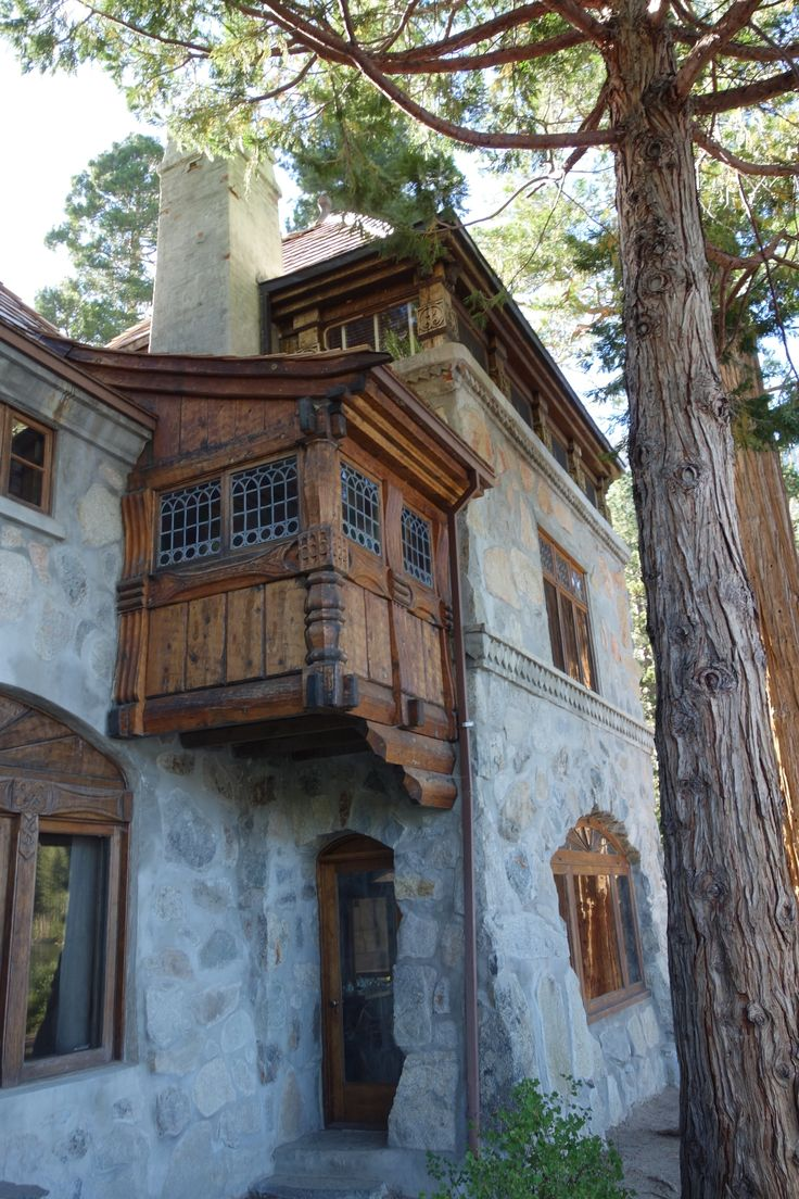 Vikingsholm Lake Tahoe Emerald Bay  I like the mix of stone and wood along with the details.