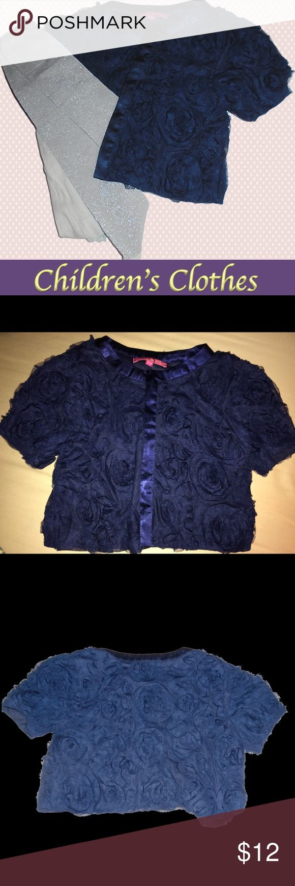 Derby Kids size 8 to 10 fancy lacy navy jacket This magnificent jacket is so dark that it looks almost black.  Fabric and lace create The look of  Flowers.  This jacket is lined. I am including silver shimmery tights where the size is not stated but it looks about the right size. This is just an extra that is no charge. Derhy Kids Jackets & Coats Blazers