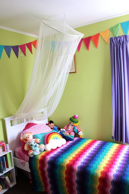 My Daughters Rainbow room in progress, bunting and crocheted afghan made by me