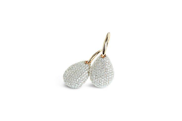 18 ct rose gold pavé set white diamond earrings