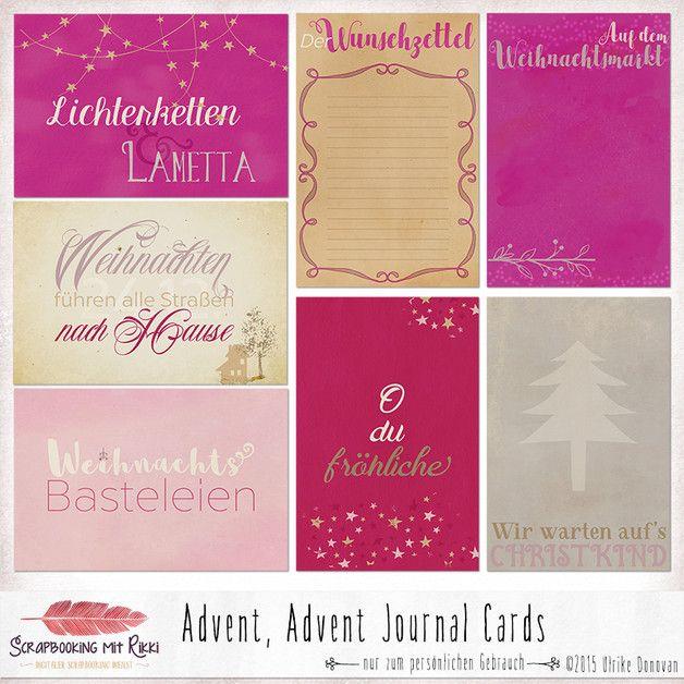 _An Weihnachten bekommt man Heimweh, selbst wenn man daheim ist._ ~Carol Nelson  Im Journaling Karten Pack sind sieben (bzw. acht inkl. Freebie) deutschsprachige Journaling Karten im Format 4×6...