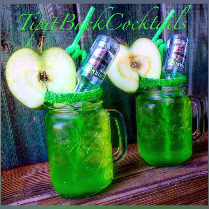 Green Apple Coolers... 2 Smirnoff Green Apple Vodka mini bottles  4 oz Rose's sour apple mixer 2 oz Simply Lemonade  Garnish: green sugar rim and apple core slice