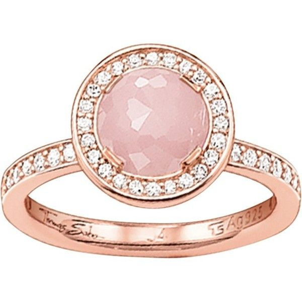 Thomas Sabo Light of Luna Ring , Rose Gold/Rose Quartz ($195) ❤ liked on Polyvore featuring jewelry, rings, red gold ring, clear crystal ring, clear pendant necklace, rose quartz ring and pendant necklace
